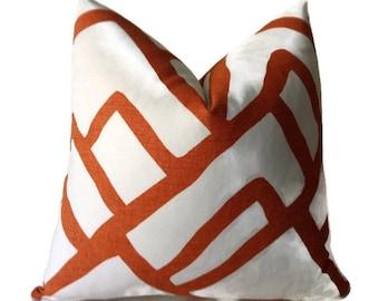 Pillows,Schumacher Zimba Pillow Cover, Orange Pillow,  Abstract Pillow, Decorative Throw Pillow
