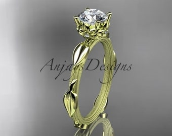14k yellow gold diamond vine and leaf wedding ring, engagement ring ADLR290