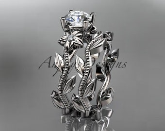 unique platinum diamond floral wedding ring engagement set adlr238s - Unique Wedding Ring Sets