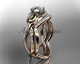 Unique 14kt rose gold diamond tulip flower, wedding set, leaf and vine engagement set ADLR226