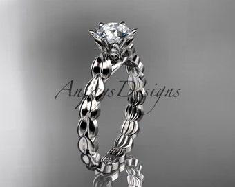 14k white gold diamond vine and leaf wedding ring, engagement ring ADLR35
