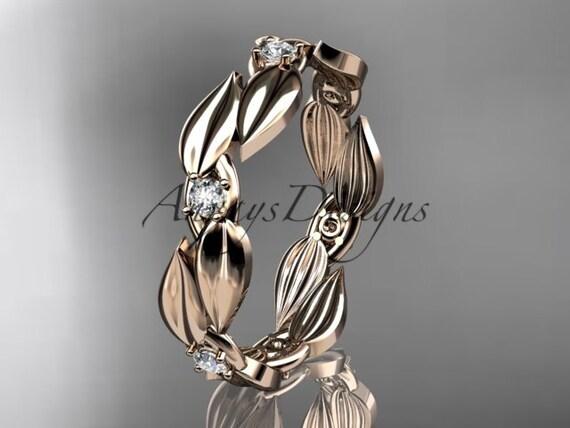 14k rose gold diamond leaf and vine wedding ring, engagement band ADLR58B