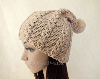 OOAK Set of Winter Slouchy Beanie Cloche Cable Knit Hat and Fingerless Beige Chunky Slouchy Beanie Cloche Hat Merino Wool Pom Poms