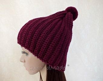 OOAK Set of Winter Slouchy Beanie Cloche Hat and Fingerless Chunky Crochet Bordo Vine Slouchy Beanie Cloche Hat Merino Wool Pom Poms