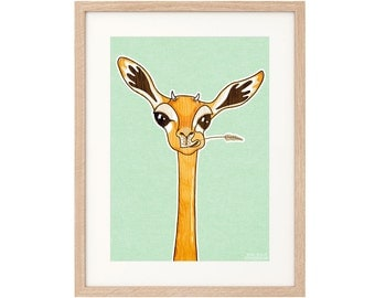 Andy the Gerenuk - Large Art Print - Archival inks & paper