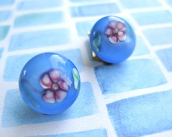 Moonglow Glass Earrings Orb Jewelry Periwinkle Blue with Pink Clip on Petite Gift for Girl