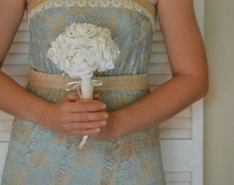 Toss Bouquet Ivory Wedding Peony Flowers Rustic Burlap and Lace Shabby Chic Keepsake Small Bouquet Custom Color