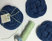 Navy blue rope coasters / set of 4