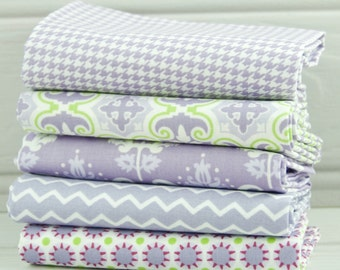 Fabric Fat Quarters Purple and Green Ring a Roses Notting Hill Selection Gutermann Pack 5 Fat Quarters - UK Shop - Craft Supplies