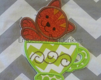 Large kitty tea party- iron embroidered fabric applique patch embellishment- ready to ship