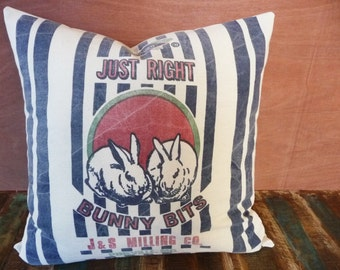 Bunny Pillow Cover, Reproduction Feedsack Style, Rabbit Pillow Cover, Farmhouse Chic, Rustic & Cottage Chic Decor