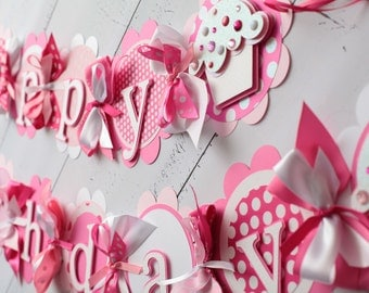 Cupcake Happy Birthday Banner, 1st Birthday Banner, Cupcake Birthday Party, Candy Birthday Party, Sweets Table Decorations Pink, Light Pink