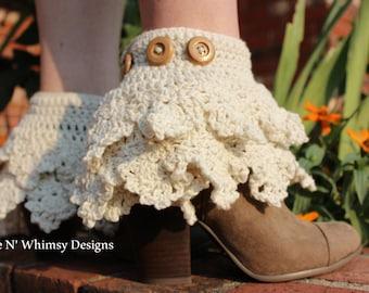 Crochet Boot Cuff Pattern Adjustable Ruffled Fairy Gypsy Boho Festival Boot Bracelet Bling Leg Warmers Pattern Teen  Plus Size