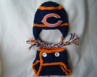 Crocheted Bears Inspired Team Colors Hat & Diaper Cover (Or Choose Another Team) These Are Made to Order