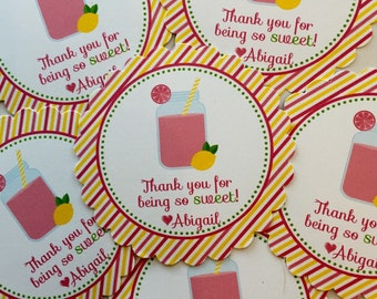 Pink Lemonade Party Favor Tags