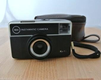 Vintage Kodak Instamatic 56x Camera with Case  Retro Room Decor