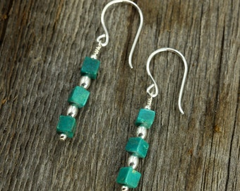 Turquoise Cube Earrings with Sterling Silver, Dangle Earrings, Drop Earrings, Southwestern