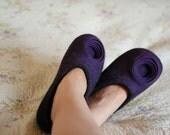 Romantic Women Felted Slippers luxury Woolen House Shoes dark brown  & blueberry purple Circles Flower decor Ranunculus
