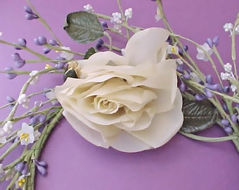 Lovely Vintage 1950's Cream Colored Millinery Rose