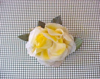 Pretty Vintage Butter Yellow Millinery Rose