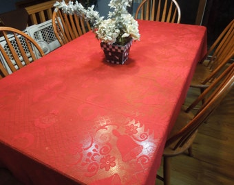 Vintage Red Lace Christmas or Holiday tablecloth for housewares, home decor by MarlenesAttic