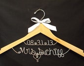 Personalized new Last name & wedding date hanger, Personalized Wedding Gift, Personalized Bridal Shower Gift, Treasured Memories Hanger