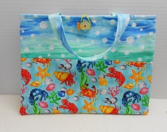 Chalk cloth activity tote, chalkboard bag, kids drawing kit, ocean sea creatures, fun bag, church busy bag, coloring tote, tablet sleeve