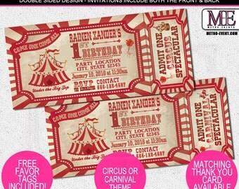 Rustic, Retro Carnival and Circus Birthday Invitations