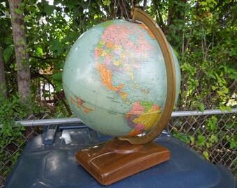 Vintage 1950's Replogle World Globe with Atlas Books Mid Century Modern Globe