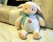 EASTER LAMB. Embroidered Lamb. Bible Verse Lamb. Stuffed Plush Lamb/Sheep. Nursery Decor. New Baby Gift. Christening. Baptism Gift.