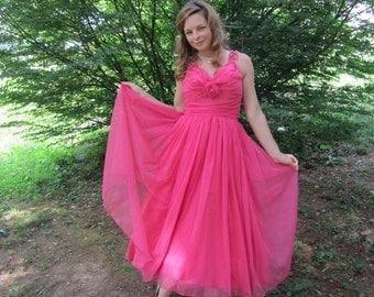 1950s Emma Domb Hot Pink Party Dress 50s Designer Chiffon Prom Dress