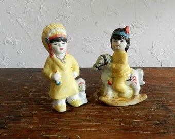 40's CHILDREN'S CHALKWARE FIGURINES - American Indian / Nursury Decor / Hand Painted / Pastel Yellow / Sweet / Nostalgic