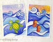 Ocean greeting card set, green sea turtle, seahorse, notecard set, stationary set, blank card, ocean decor, whimsical art cards, 5x7 inches