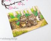 Australian wombat animal aceo art print, artist trading card, australian theme, miniature art, cute animal art card, wildlife art, 2.5 x 3.5