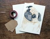 Hand Drawn Greeting Card - Pug Drawing - Pug Painting - Blank Card