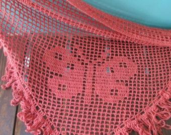 Handmade Filet Crochet Silk/Linen Triple Butterfly Shawl