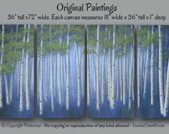 Original Birch tree painting, Large wall art, Canvas art, Navy blue white home decor, Green, Office artwork XXL, Oversized, Aspen, Landscape