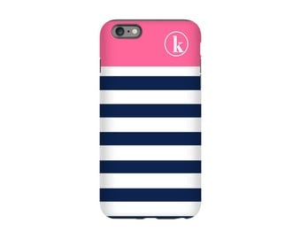 Personalized iPhone case - Nautical Stripes - iPhone 7 case, iPhone 6 Case, iPhone tough case