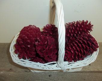Burgundy Pine Cones, Painted Pine Cones, Pine Cone Decor,Pine cone, Pinecone Wedding, Christmas Wedding, Bowl Fillers