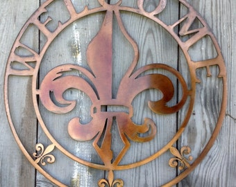 Antique Copper Plated Round Welcome Steel Metal Wall Mount Sign Style 3 Louisiana Fleur de lis