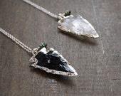 Quartz Arrowhead Necklace Obsidian Arrowhead Necklace Silver Arrow Jewelry Black Arrow Jewelry Crystal Arrow Necklace Bohemian Arrow Tribal