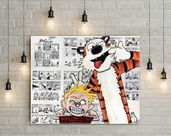 Calvin and Hobbes Canvas Print of  Funny Faces