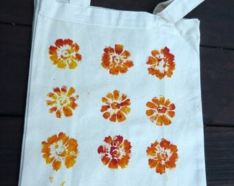 Orange and yellow Flower Tote Bag-Heavy Duty-Durable-Cotton Canvas-Hand Stamped-One of a Kind-Original