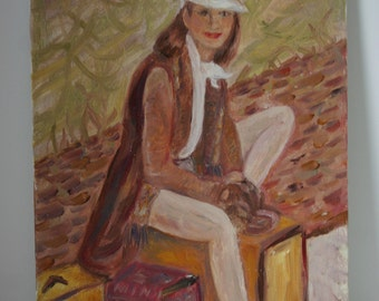 The Traveler Painting Unsigned Art Canvas Woman and Suitcases
