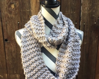 Chunky Gray Hand Knit Eternity Scarf / grey