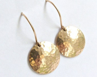 Dangle Earrings, Hammered Disc, Drop Earrings, Gold Silver or Rose Gold, Bridesmaid Jewelry, Everyday Earring