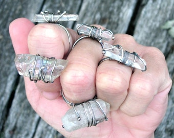 Sterling Silver and Clear Quartz Rings, Statement Rings, Metaphysical Healing Jewelry