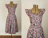 1950er Jahre geblümten Kleid | Vintage 50er Jahre Kleid aus Baumwolle Haus