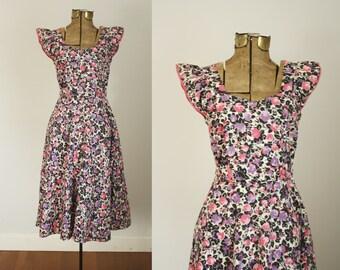 1950s floral dress | vintage 50s cotton house dress