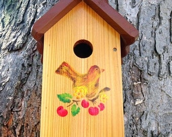 Unique one of a kind Handcrafted Birdhouse-Brown Bird with Cherries,outdoor oil finished wood,Made in USA,stencilled